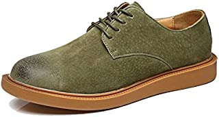 Men's Oxfords Insipid Heel Lace Up Brogue Pattern British Style Leisure Shoes Go to work (Color : Green, Size : 38 EU)