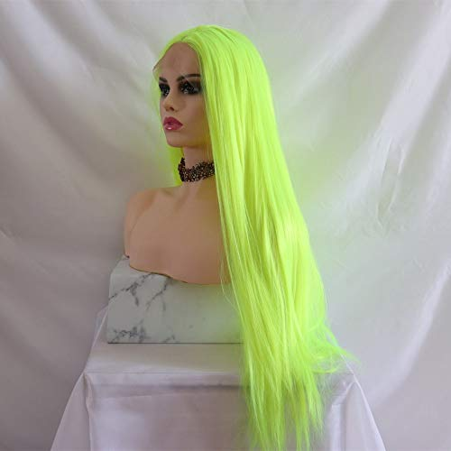 DER Lange gerade hitzebeständige Faser Honig Blonde synthetische Lace Front Perücke natürlich aussehende Lace Perücken for Frauen (Color : Green, Wig Length : 26inches)
