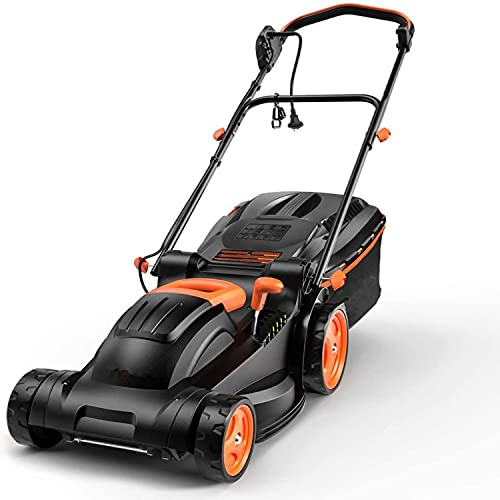 Electric Lawn Mower, 10-Amp 14-Inch Lawn Mower, 6 Mowing Heights Options, 3 Control Heights Selections, Easy Folding for Space Saving, 98% Grass Collection Rate, 10.5Gal Grass Box-KALM12A