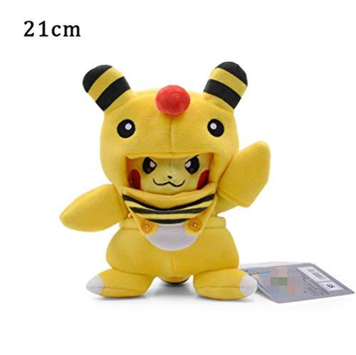 Hanyyj Plüschtier Pikachu Cosplay Charizard Snorlax Garchomp Ampharos Tyranitar Hydreigon Kuscheltierpuppen Kinderspielzeug 21 cm