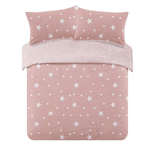 Dreamscene Star Thermal Teddy Fleece Duvet Cover with Pillow Case Soft Warm Fluffy Bedding Set, 100% Bear Polyester, Blush Pink White, Single Size