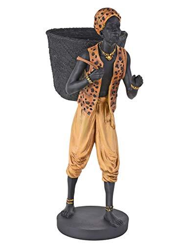 Schwarzer Diener mit Obstkorb Mohr Figur Dekokorb Kolonialstil Skulptur 59cm cw254 Palazzo Exklusiv