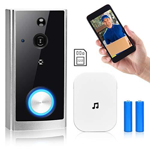 COSTWAY Videotürklinge mit Kamera, Ring Video Dorrbell 1080p HD, Türklingel WiFi mit Gegensprechfunktion/Nachtsicht/PIR Bewegungssensor / 32GB Speicherkarte