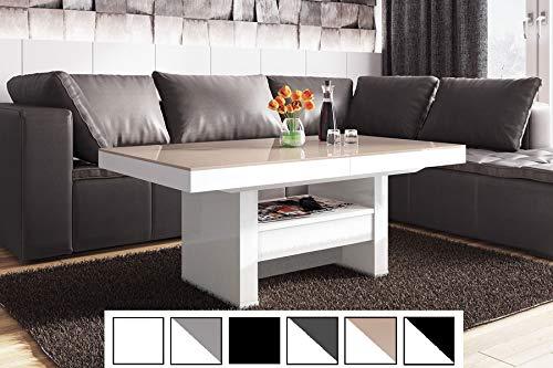 HU Design Couchtisch HLU-111 Hochglanz/MATT Schublade höhenverstellbar ausziehbar (Cappuccino Hochglanz/Weiß Hochglanz)