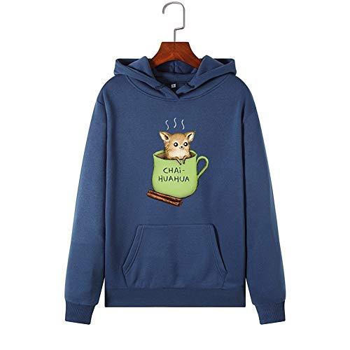 Shirt Donne Felpe con Cappuccio Blue Sport Teacup Rat Motivo Stampa Pullover Femminile Felpa con...