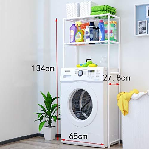 Waschmaschine Regal Einfacher Waschmaschinenständer, 2-lagiger Waschmaschinenaufsatz, schmiedeeiserner Waschmaschinenständer, Größe: 68cm * 27,8cm * 134cm