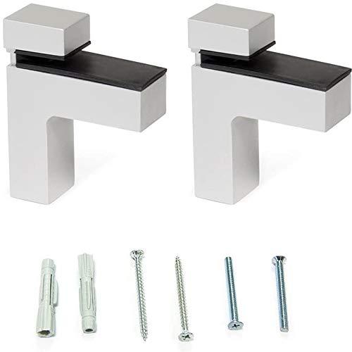 Emuca 4009125 - Lote de 2 soportes mod. Squad-2 para estante de madera o cristal de espesor 0-25mm acabado pintado aluminio
