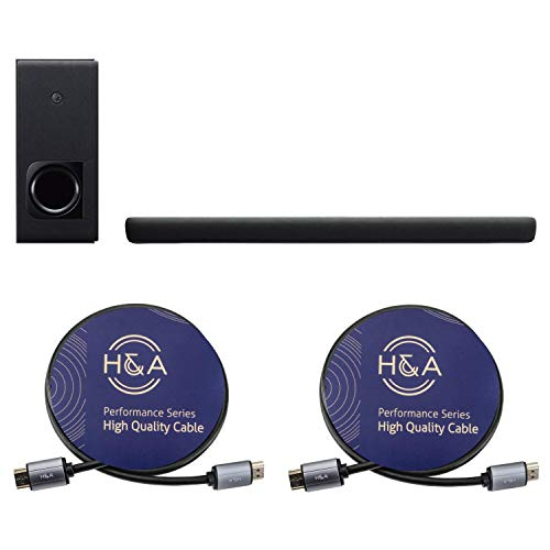 Yamaha YAS-209 2.1-Channel Sound Bar with Wireless Subwoofer and Alexa Voice Control Built-in, Black Bundle with 2 Pack H&A High-Speed HDMI 2.0 Cable with Ethernet 6 Feet