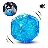 PEDOMUS Hundespielzeug Ball mit LED Licht und Squeaker, Spielzeug für Hunde, Hundeball Hundebälle, Spielball für Hunde, leuchtet in wechselnden Farben, aus thermoplastischem Gummi.