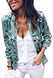 ECOWISH Women's Casual Floral Zip Up Bomber Jacket Coat Stand Collar Lightweight Short Outwear Tops Green S 832 Green Small from