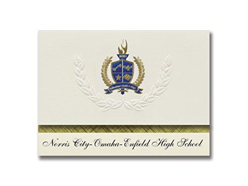 Signature-Announcements Norris City-Omaha-Enfield High School (Norris City, IL) Schulabschlussankündigungen, goldfarben, Blau, 15,9 x 29,2 cm, cremefarben (PAC_BASICPres_HS25_109719_206044)