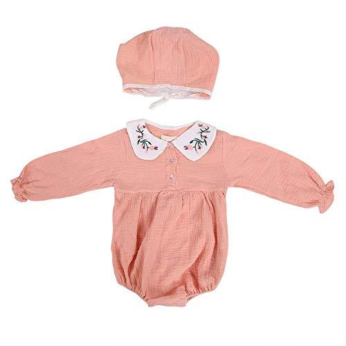 Baby rompler zuigelingenkleinkind pasgeborduurd meisje Peter Pan Body Overall lange mouwen overall met hoed roze 100