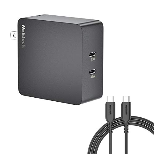 Nekteck 63W USB C Wall Charger with 45W Power Delivery, Foldable Plug Charging Adapter with 6.6ft Type C Cable Compatible with Dell XPS, Surface Go, Pixelbook, iPad Pro, Galaxy, iPhone 11 Pro Max