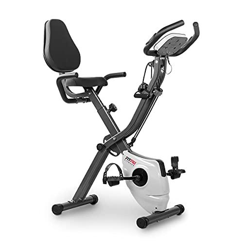 Fitfiu Fitness BEST-320 - Bicicleta Estática plegable con respaldo regulable y cuerdas elásticas, Pulsómetro y volante de inercia de 8 kg regulable a 10 niveles, Gris Oscuro