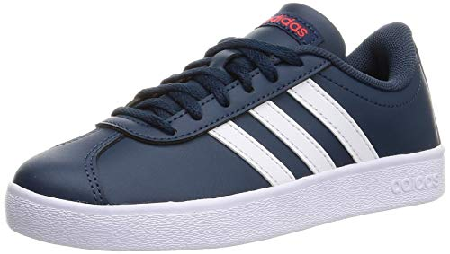adidas VL Court 2.0 K Gymnastics Shoe, Crew Navy FTWR White Vivid Red, 6 UK