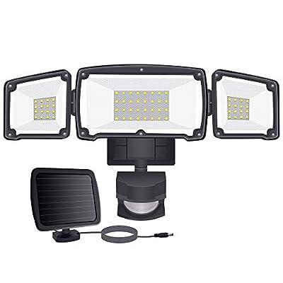 Samuyang LED Solar Security Lights Outdoor, IP65 Waterproof Dusk to Dawn Solar Motion Sensor Light,1500LM,6000K Daylight Black Flood Light with 3 Adjustable Head for Garage,Backyard, Pathway,Patio