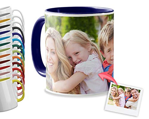 Getsingular Tazas Desayuno Personalizadas con el Interior y asa de Color   con Tus Fotos y Texto   Tazas impresión  Color: Azul Oscuro