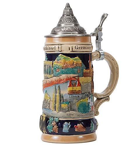 Beer Stein, taza de cerveza de cerámica más fina, marca alemana, jarra con tapa de peltre con tapa de estaño, para regalos recuerdos con caja de regalo, 0,6 litros