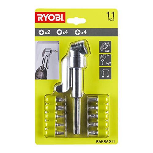 RAKRAD11 Adaptador de taladro de ángulo recto + puntas (11 piezas)