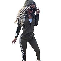 Damen-Trainingsanzug, langärmelig, Reißverschluss, Kapuzenpullover + Hose, Jogginganzug, Sport, Yoga, Fitnessstudio, Workout-Outfit, 3 Farben 2XL, grün