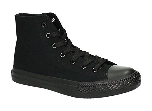 JUMEX Neu Damen Sneakers Freizeit Turnschuhe High Top Schuhe (42, Schwarz 2)