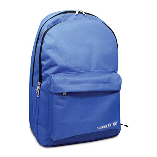 Sargent Art 98-5030 Standard Backpack with Black Zippers/Trim, Synthetic Material, Blue, 46.3 x 30.5 x 14 cm