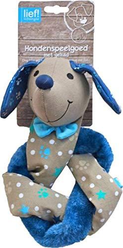 Lief! hondenspeelgoed canvas teckel knoop met piep unisex blauw 48 cm