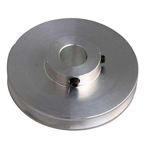 Yibuy Polea de ranura de aluminio plateado 58x12MM para el motor Shalf 3-5MM correas redondas