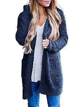 MEROKEETY Women s Long Sleeve Soft Chunky Knit Sweater Open Front Cardigan Outwear with Pockets