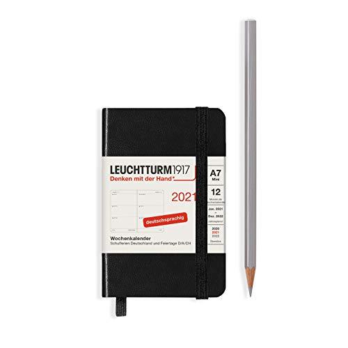 LEUCHTTURM1917 Wochenkalender 2021 Hardcover Mini (A7), 12 Monate, Schwarz, Deutsch