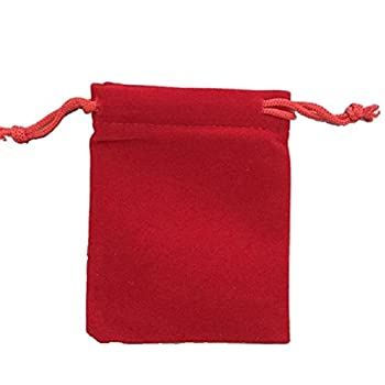 KUPOO 50 Pieces Wholesale Lot - Red Velvet Cloth Jewelry Pouches/Drawstring Bags 3  X 4
