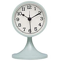 Queena Retro Round Silent Alarm Clock Non-Ticking Battery Operated Desk Clock for Bedroom Milk Blue