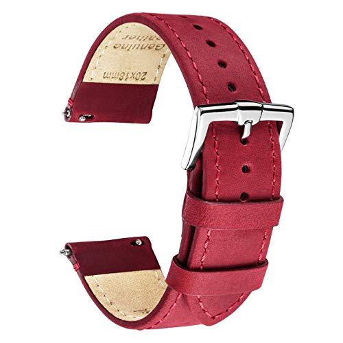 B&E Cinturini per Orologi Ricambio Cinturino in Pelle Premium per Uomo e Donna - 16mm 18mm 19mm 20mm 22mm (19mm, Crimson Red Leather & Stitching)