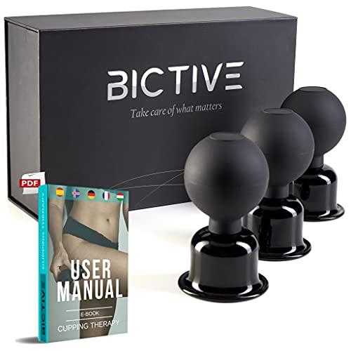 BICTIVE Kit de Ventosas de Masaje hechas en Cristal de 61 mm, Ventosas Celulitis, Masajeador Anticelulitico, Ventosas Fisioterapia, Aparatos de Masaje . Kit Premium de 3 Ventosas con Bola de Succión