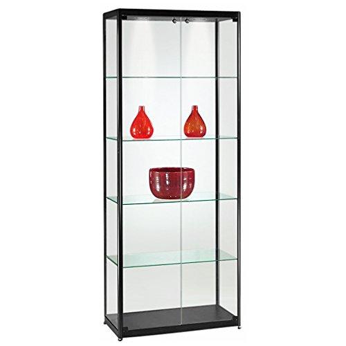 DELIGHT DISPLAYS Vitrine Glasvitrine Standvitrine Sammlervitrine Basic 800 Alu Schwarz Glas beleuchtet abschließbar
