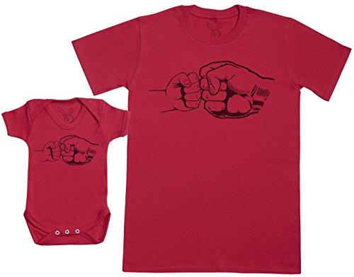 Zarlivia Clothing Baby & Dad Fist Punch - Regalo para Padres y bebés en un Cuerpo para bebés y una Camiseta de Hombre a Juego - Rojo - Large & 18-24 Meses