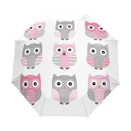 SUHETI Regenschirm Taschenschirm,Nette Eulenfiguren Nächtliche exotische mystische Waldnachttiere,Auf Zu Automatik,windsicher,stabil