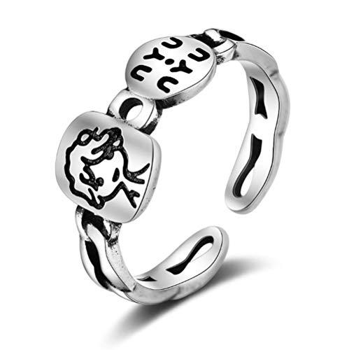 Retro Ring Creatieve Gegraveerde Ring Koper Product Damesmode Wilde Sieraden Geschikt Voor Geschenken Voor Koppels Zilver