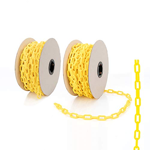 Home Master Hardware 120 Foot Plastic Safety Barrier Chain for Construction Site,Garage,Queue Line, Chains Link Fence Yellow (60 Foot Two Rolls)
