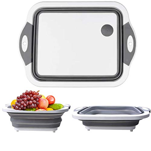 Collapsible Cutting Board, Space Saving 3 in 1 Multifunctional Chopping Board, Fruit & Vegetable Container Basket, Washing & Drain Basket for Camping & Picnic & Kitchen
