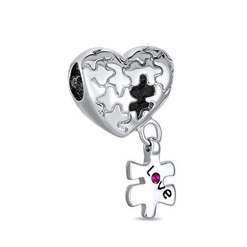 Bling Jewelry Autismo Conciencia Pieza del Puzzle Corazón Amor Albalorio para Mujer para Adolescente 925 Encaja Pulsera Europea