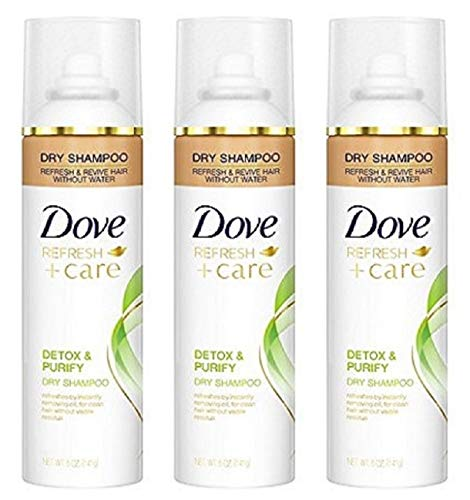 Dove Refresh + Care Dry Shampoo - Detox & Purify - Net Wt. 5 OZ (141 g) Per Can - Pack of 3 Cans