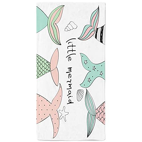 Mermaid Beach Towel Kids Beach Towel , Little Mermaid Tails Seashell Starfish Beach Towel , Microfiber Quick Dry Mermaid Beach Blanket Pool Towel for Girls Kids Women 300GSM 30x59 in, Colorful