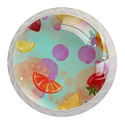 Paquete de 4 pomos de cristal para puerta de armario y cajones, color azul limón