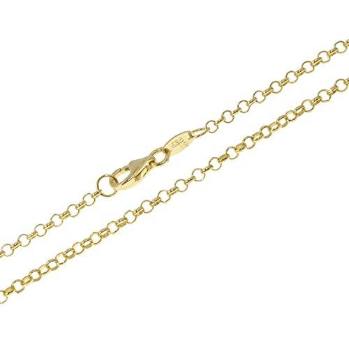 aion Erbskette Goldkette Massiv Gold 585 Damen Herren Erbs Rollo Halskette Gelbgold 14K 40 60 cm 2 mm (45)