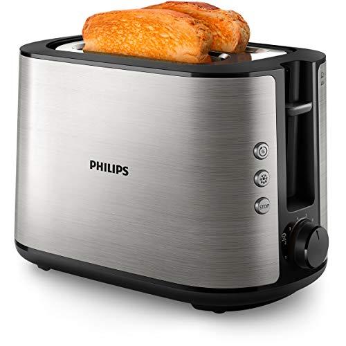 Philips HD2650/90 - Tostadora (acero inoxidable, 950 W, 8 niveles de tostado, accesorio para panecillos, función de descongelación y calentamiento, botón de parada, función de levantamiento)