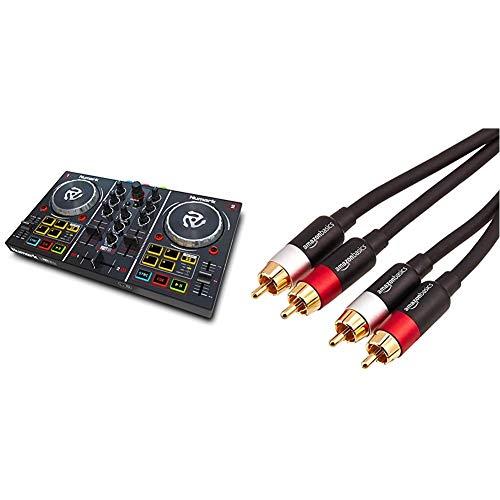 Numark Party Mix - 2 Kanal Plug und Play DJ Controller für Serato DJ Lite mit eingebautem Audio Interface & AmazonBasics Cinch-Audiokabel, 2 x Cinch-Stecker auf 2 x Cinch-Stecker, 2,4 m