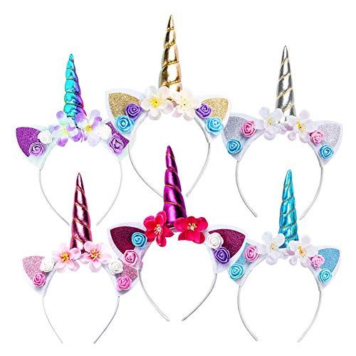 N/C Diademas de Unicornio con Flores,Unicornio Cuerno Diadema con Flores ,Diadema de cumpleaños navideña ,Fiesta Unicornio Cosplay ,Banda de Pelo de Unicornio,(6 Piezas, de Colores)