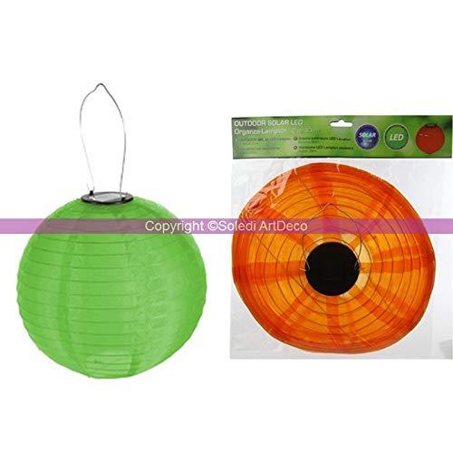CePe kleine lampion bol LED Solar lantaarn Organza groen diameter 20 cm met ophanging voor buiten