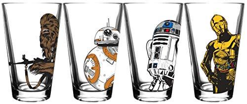 Star Wars Classic Pint Glass Set - 16 oz. Glass Capacity - Set of 4 Glasses - Classic Shape